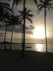 zachód słońca na Karaibach,